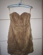 Koronkowa sukienka tuba złota