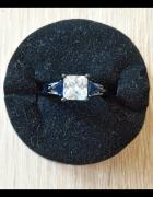 Nowy pierścionek czarny biała cyrknia granatowe cyrkonie retro ...