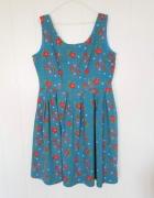 Bawełniana sukienka w stylu retro 46 3XL 48 4XL rozkloszowana n...