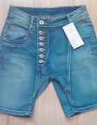 Nowe ciekawe jeansowe szorty spodenki damskie S