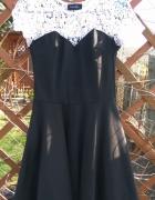Nowa czarna rozkloszowana sukienka z białą koronką S 36 Tk maxx...