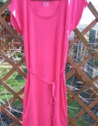 Prosta malinowa letnia sukienka krótki rękaw Esmara S 36 38...