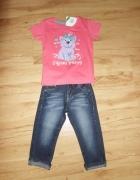Komplecik różowa bluzeczka i jeansy 104...