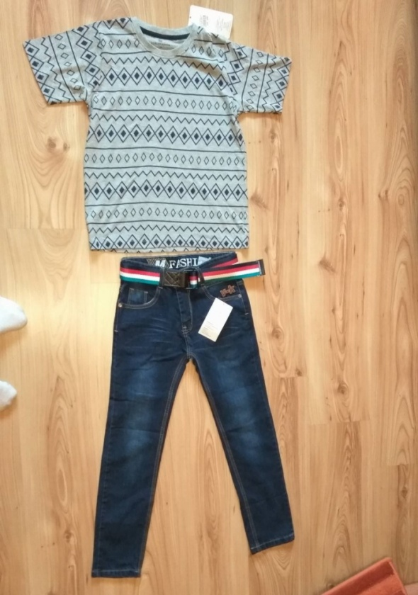 Nowy komplet bluzka i jeansy chłopięce rozm 140
