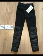 Nowe grube czarne leginsy getry spodnie serduszka na kolanach 1...