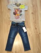Nowy komplet spodnie jeansy i bluzka scooby doo 98...