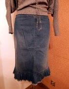 LIV Markowa spódnica jeans dopasowana z falbanką