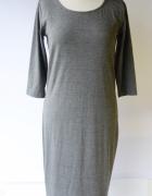 Sukienka Szara Cubus Long Dłuższa M 38 Szarość...