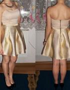 rozkloszowana złotokremowa sukienka