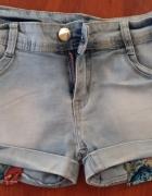 Jeansowe spodenki w wywiniętymi kieszeniami