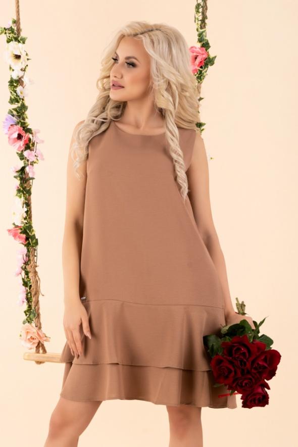 Trapezowa sukienka S M L XL kolory pistacja coffee fuksja...