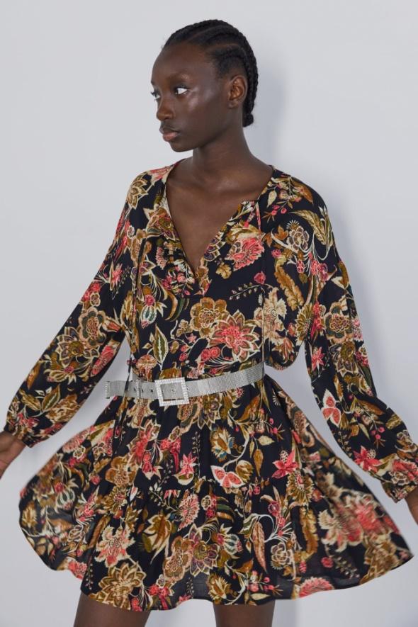 Zara czarna sukienka z kolorowymi kwiatami falbanki wiązana prz...