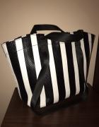 Zara torba shopper torebka pasy pasiasta do ręki na ramię czarn...
