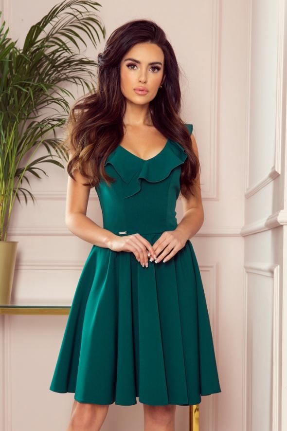 Suknie i sukienki Sukienka rozkloszowana falbana w dekolcie S M L XL bordowa czerwona zielona