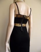 Sukienka mała czarna zdobiona złotymi cekinami