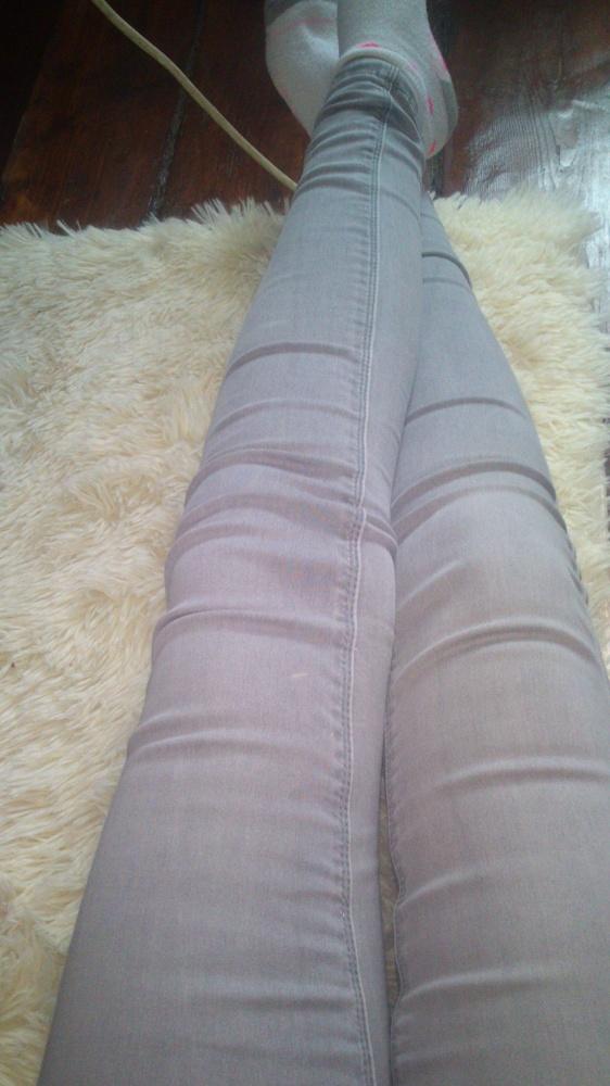 Spodnie szare jeansy skinny xs s new look