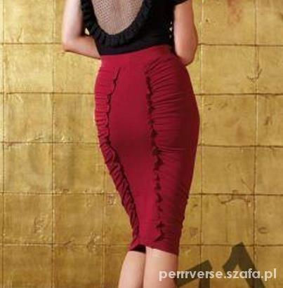 NOWA ołówkowa spódnica midi XS ciemna czerwień