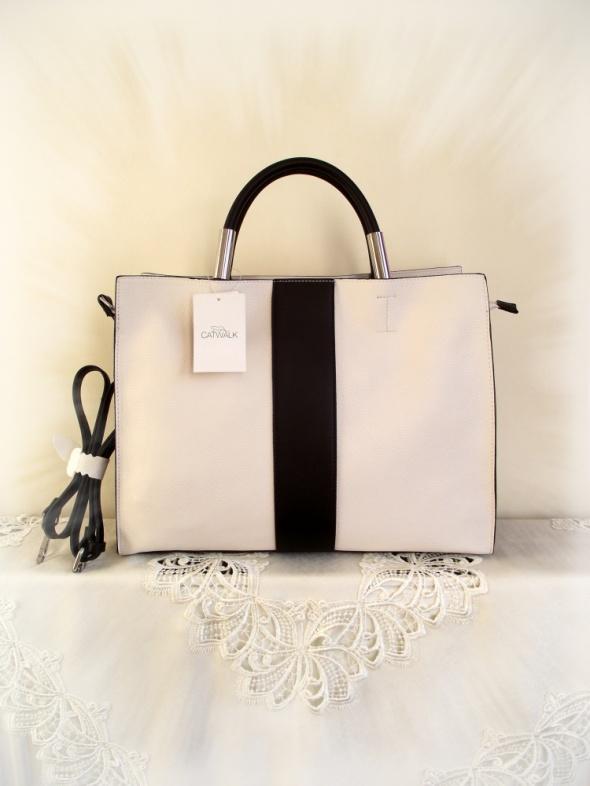 Nowa stylowa duża pojemna torebka torba shopper biel i czerń A4
