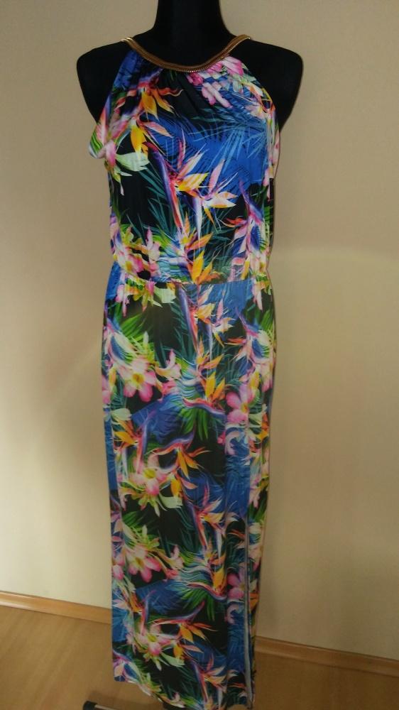 Długa sukienka wzór tropikalny rozcięcie...