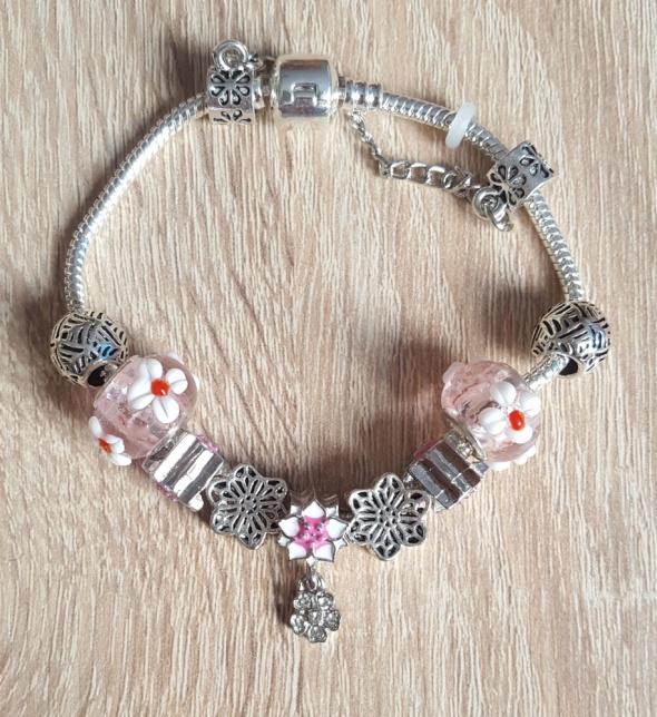 Bransoletki Nowa bransoletka srebrny kolor różowa koraliki beads modułowa kwiaty lilie wiosna