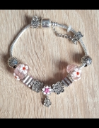 Nowa bransoletka srebrny kolor różowa koraliki beads modułowa k...