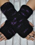 Rękawiczki Mitenki Bezpalcowe Rękawki Bez Palców Czarne Fioletowe Włóczka Ciepłe Handmade Rock Goth Retro