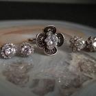 Srebrny pierścionek kwiat cyrkonia kolczyki