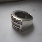 Srebrny masywny pierścionek obrączka z cyrkoniami 10 gr