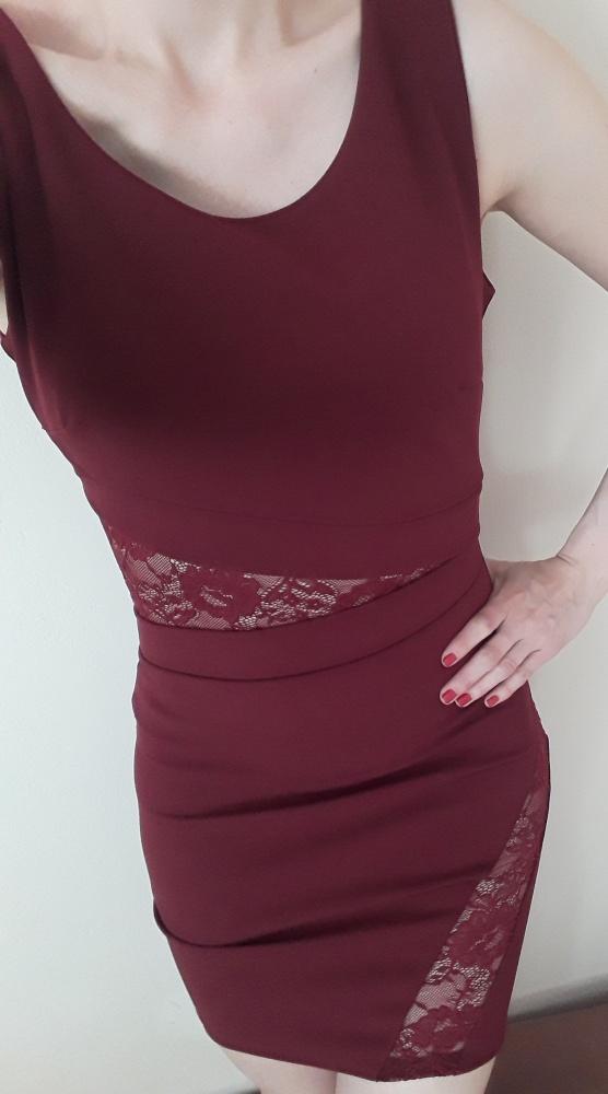 Suknie i sukienki ołówkowa sukienka bordo koronka