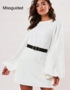 Biała sukienka Missguided bufiaste rękawy