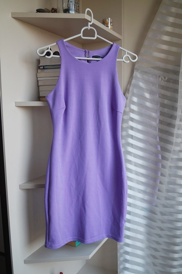 Fioletowa taliowana sukienka Atmosphere M