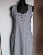 Śliczna sukienka biel czerń guziki...