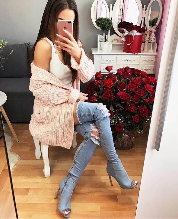Kozaki sexy kozaki wysokie jeans dzinsowe 36 obcas 11 cm jasne