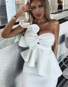 biała sukienka midi sexy falbany baskinka 36 38 hit gorset deko...
