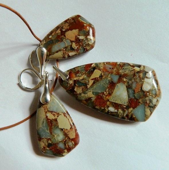 Brązowy jaspis cesarski elegancki zestaw w srebrze