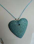 Serce błękitna lawa wulkaniczna duży wisiorek...