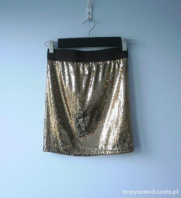 Spódnice Forever 21 cekinowa spódniczka złota cekiny