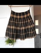 New Look spódnica w kratkę dzianinowa rozkloszowana uczennica...