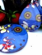 Duży wisior i kolczyki masa perłowa w kwiaty...