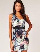 Lipsy Asos sukienka galaxy kosmos jedno ramię...