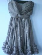 Yumi asos sukienka tiulowa kawowa cekiny falbanki...
