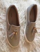 Vices szare skippersy trampki tenisówki buty skóra skórzane frędzle 38