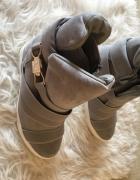 Vices szare zamszowe zamsz sneakersy trampki na koturnie koturna 38