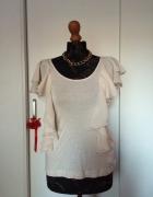 H&M Garden Collection nude falbanki top koszulka...