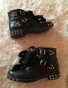 Czarne workery czarne buty botki z ćwiekami ćwieki motocyklowe kokarda