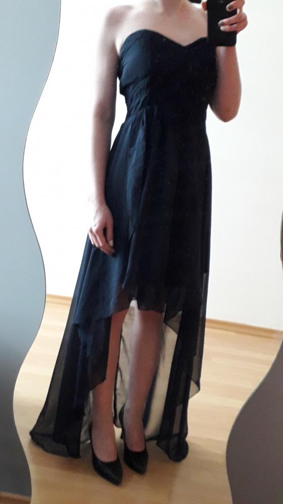 sukienka maksi maxi granatowa asymetryczna