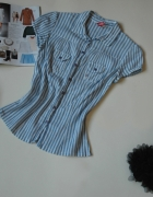 Bluzka H&M paski bawełna elegancka połysk S M...