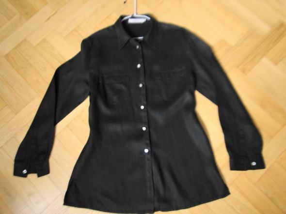 Elegancka czarna koszula lniana 42