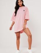 Playboy&missguided różowa sukienka tshirt...