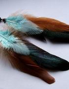 kolczyki boho etno hippie pióra turkusy